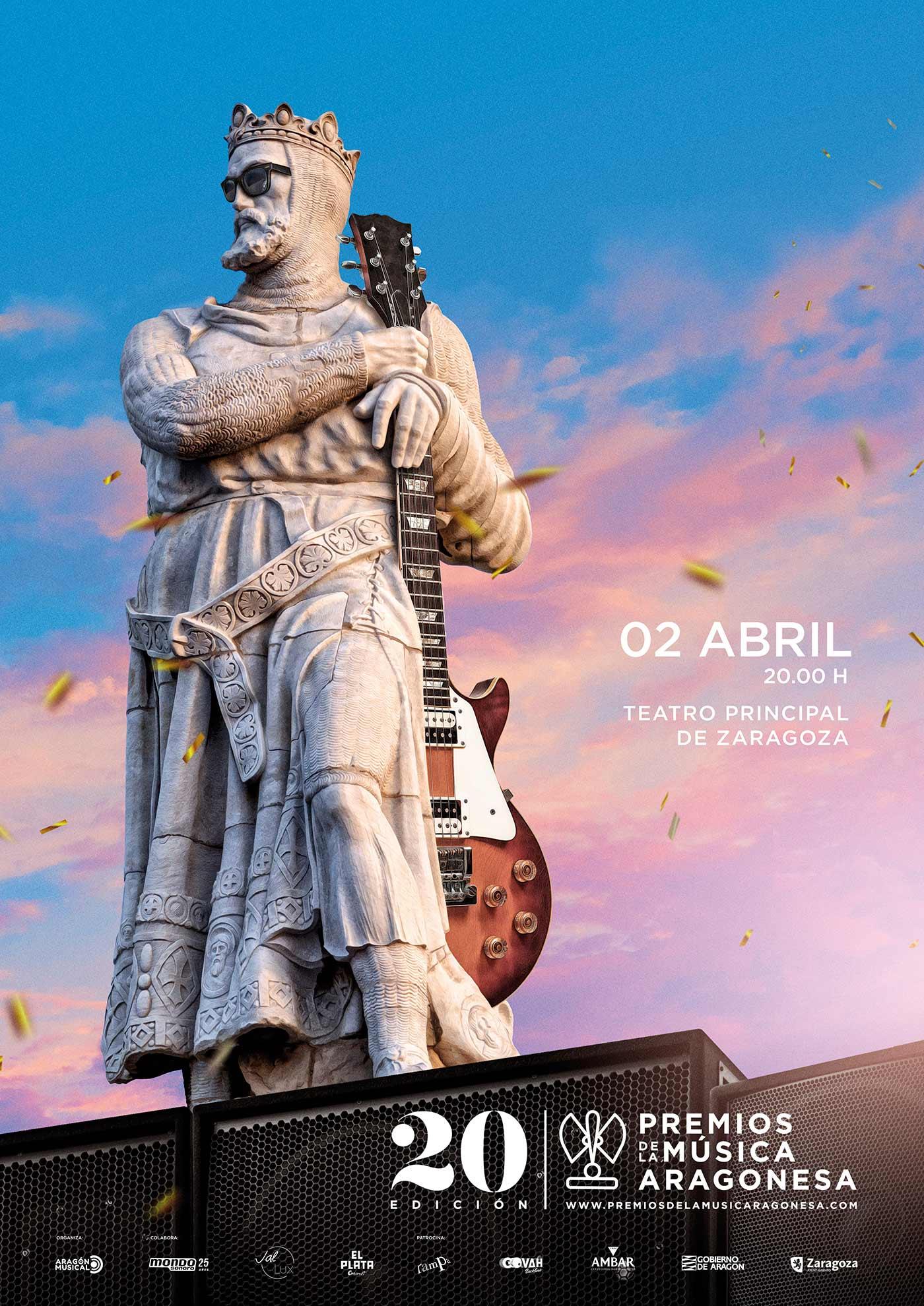 Cartel de los XX Premios de la Música Aragonesa.