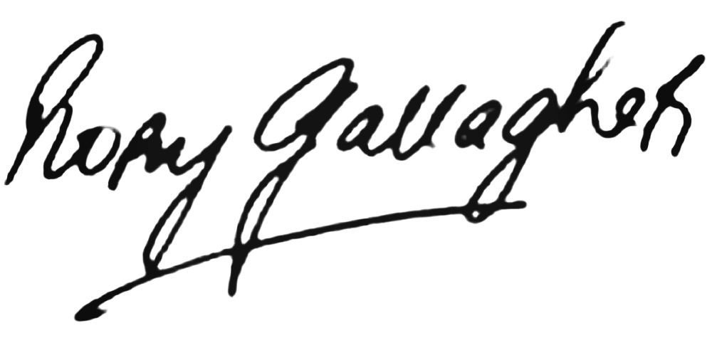 Logotipo/firma de Rory Gallagher.